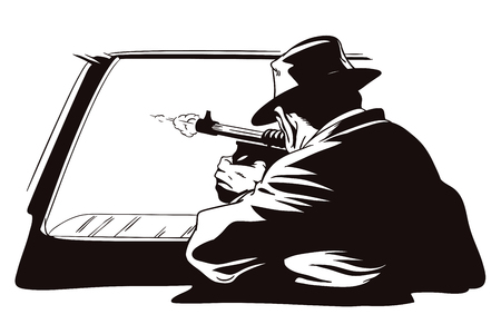 Stock illustration. People in retro style pop art and vintage advertising. Gangster shoots out of car window. Illustration
