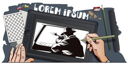 tommy: Stock illustration. People in retro style pop art and vintage advertising. Gangster shoots out of car window. Hand paints picture on tablet.