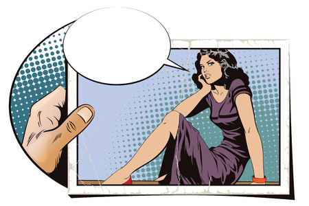 Stock illustration. People in retro style. Presentation template. Cute girl sitting on the railing.