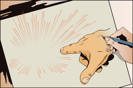Stock illustration. Style of pop art and old comics. Hand of human. Pointing fingers.