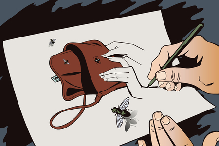 musca: Stock illustration. Style of pop art and old comics. Hand paints picture. Flies fly out from empty handbag.