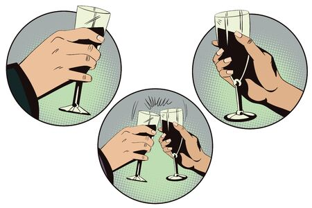 sommelier: Stock illustration. Style of pop art and old comics. Hands of men and women with glasses of wine. Illustration