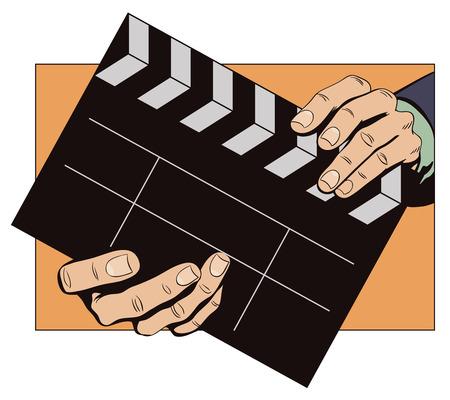 Stock illustration. Stijl van pop art en oude strips. Handen met clapperboard