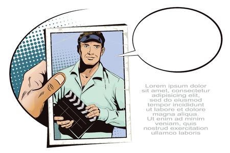 Stock illustration. Mensen in retro stijl. Presentatiesjabloon. Man met clapperboard Vector Illustratie