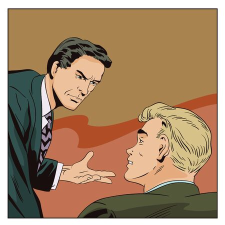 Stock illustration. People in retro style pop art and vintage advertising. Businessman talking something a colleague. Illustration