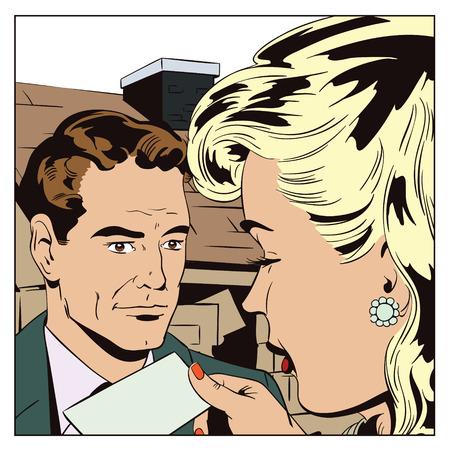 Voorraad illustratie. Mensen in retro-stijl pop-art en vintage reclame. Makelaar onroerend goed met het meisje. Huis te koop. Verhuur van onroerend goed.