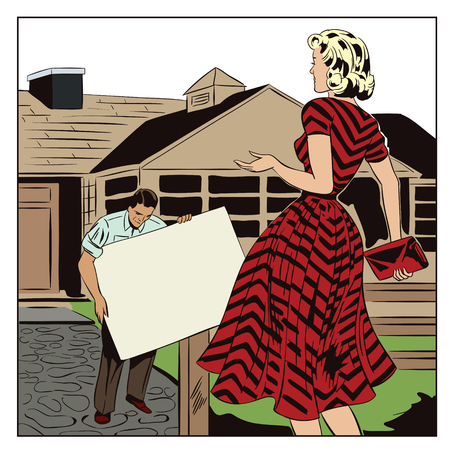 Stock illustration. People in retro style pop art and vintage advertising. Agent real estate with the girl. House for sale. Rental of property.