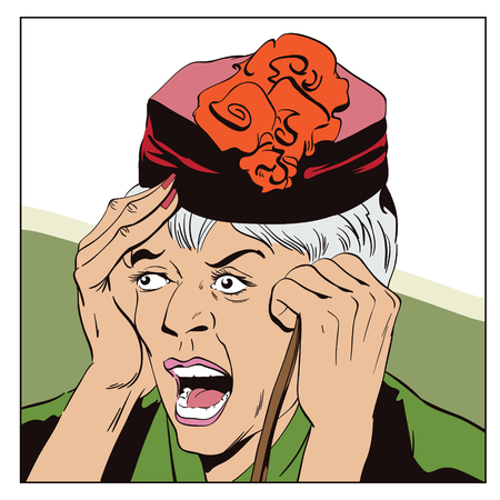 Stock illustration. People in retro style pop art and vintage advertising. Frightened elderly woman.