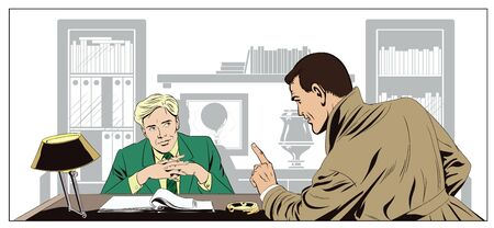 briefing: Stock illustration. People in retro style pop art and vintage advertising. Angry man says something businessman.