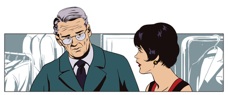 Stock illustration. People in retro style pop art and vintage advertising. Man talking to a saleswoman in a clothing store. Illustration