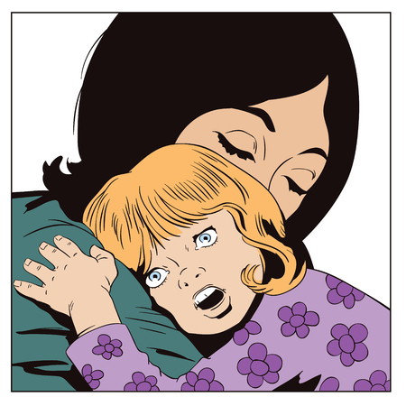 Stock illustration. People in retro style pop art and vintage advertising. Woman with little girl in his arms. Illustration
