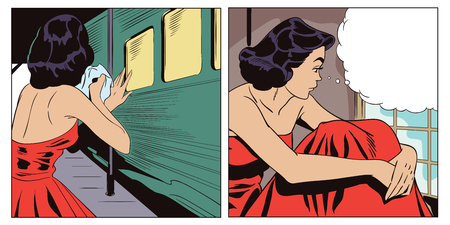 Stock illustration. People in retro style pop art and vintage advertising. Departing train. Girl is sad after parting.