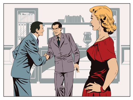 business meeting: Stock illustration. People in retro style pop art and vintage advertising. Girl looks at Two business man shaking hands.