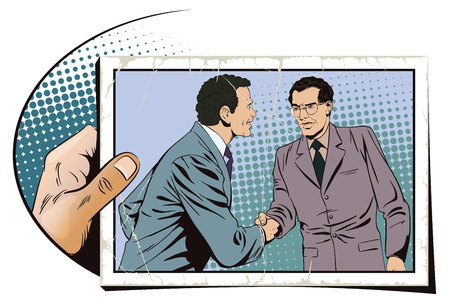 synopsis: Stock illustration. People in retro style pop art and vintage advertising. Two business man shaking hands. Illustration