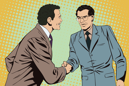 business meeting: Stock illustration. People in retro style pop art and vintage advertising. Two business man shaking hands. Illustration