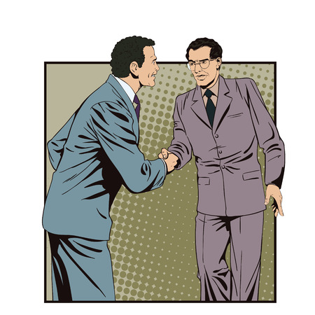 briefing: Stock illustration. People in retro style pop art and vintage advertising. Two business man shaking hands. Illustration