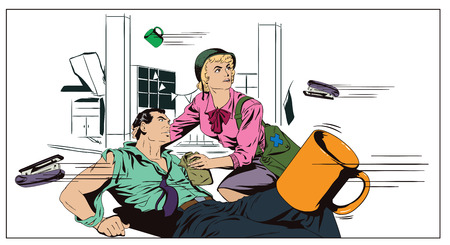 Stock illustration. People in retro style pop art and vintage advertising. Battle in office. The girl helps a wounded businessman.
