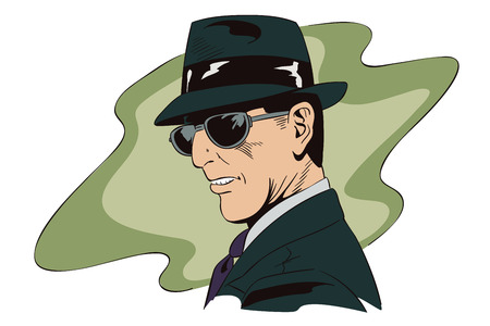 inspector: Stock illustration. People in retro style pop art and vintage advertising. A spy in dark glasses.