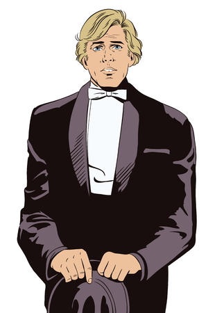 celebrities: Stock illustration. People in retro style pop art and vintage advertising. Man in tuxedo and bow tie.