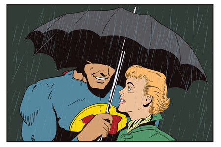 Stock illustration. People in retro style pop art and vintage advertising. Superhero saves girl from rain. A hero holds an umbrella over a woman.