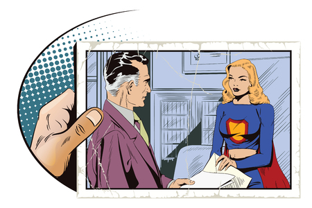 Stock illustration. People in retro style pop art and vintage advertising. A businessman gives an assignment to a girl in a superhero costume.