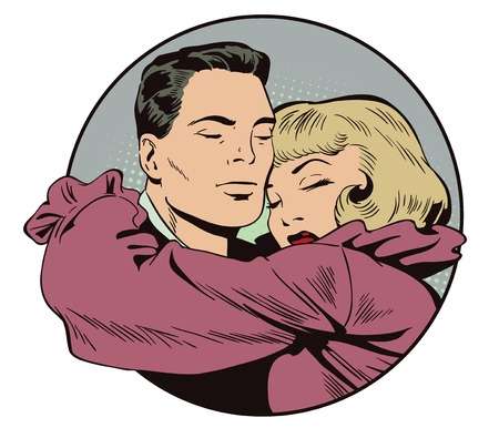 amore: Stock illustration. People in retro style pop art and vintage advertising. Loving couple. Illustration