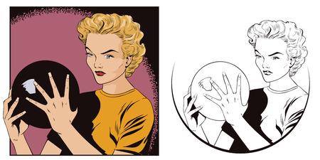 Stock illustration. Les gens dans le pop art de style rétro et la publicité vintage. Fille avec boule de bowling. Vecteurs
