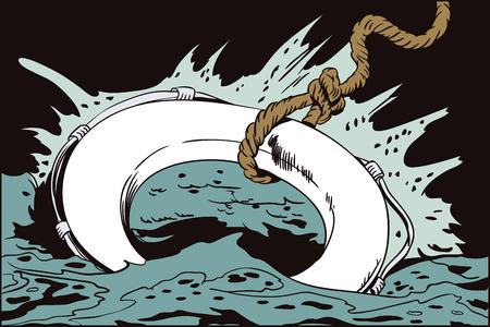 Illustration in der Retrostilpop-art und in der Weinlesewerbung. Rettungsring ins Wasser geworfen. Standard-Bild - 79750705
