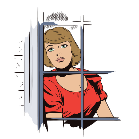 Stock illustration. People in retro style pop art and vintage advertising. Beautiful sad girl in window.