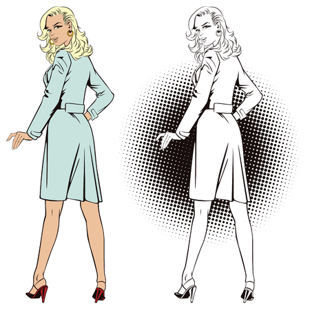 assisting: Stock illustration. People in retro style pop art and vintage advertising. Beautiful girl in medical dressing.