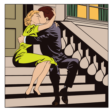 Stock illustration. People in retro style pop art and vintage advertising. Loving couple.