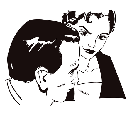 Stock illustration. People in retro style pop art and vintage advertising. Girl talking to a man.