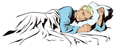 Stock illustration. People in retro style pop art and vintage advertising. Calm man sleeping