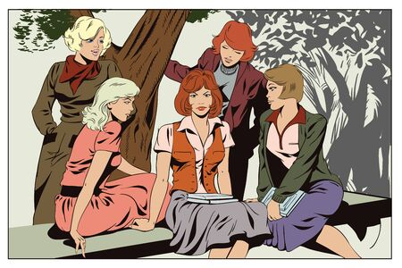 youngster: Stock illustration. People in retro style pop art and vintage advertising. Girls girlfriends talking in park.