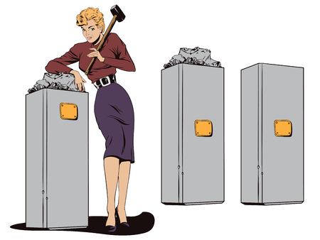 bust: Stock illustration. People in retro style pop art and vintage advertising. Beautiful girl and a broken monument.