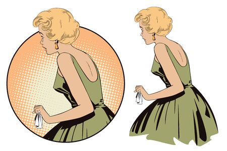 Stock illustration. People in retro style pop art and vintage advertising. Beautiful girl in shock. Ilustrace