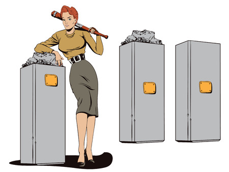 Stock illustration. People in retro style pop art and vintage advertising. Beautiful girl and a broken monument.