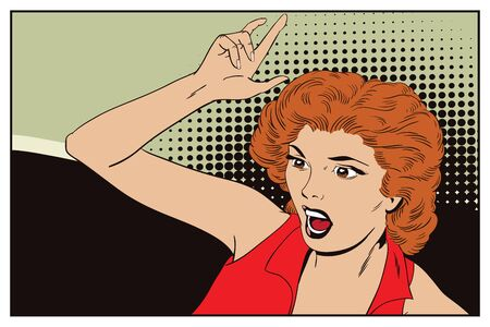 Stock illustration. People in retro style pop art and vintage advertising. Woman shouts and wags hands. Векторная Иллюстрация
