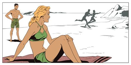 Stock illustration. People in retro style pop art and vintage advertising. People on beach.