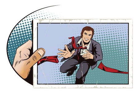Stock illustration. People in retro style pop art and vintage advertising. Running business man. Illustration