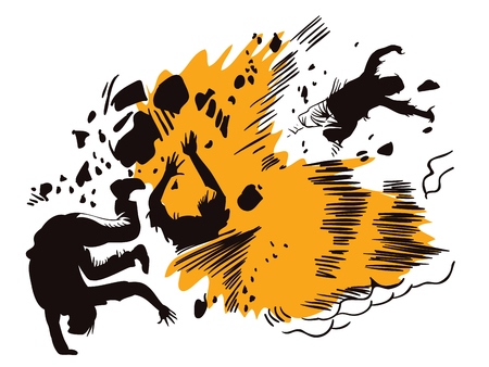Illustration in retro style pop art and vintage advertising. Sketch of the explosion.