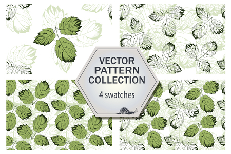swatches: Vector leaves pattern collection that includes 4 swatches for decoration and design
