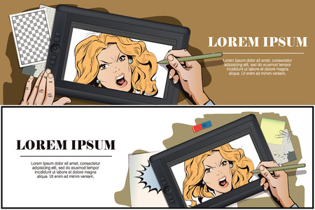 Stock illustration. People in retro style. Presentation template. Young beautiful woman screams in fury. Hand paints picture on tablet. Stock Vector - 81065562
