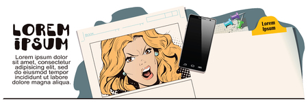 Stock illustration. People in retro style. Presentation template. Young beautiful woman screams in fury. Advertising your products.