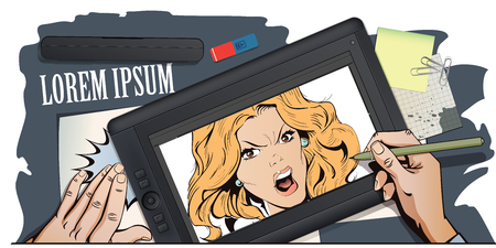 Stock illustration. People in retro style. Presentation template. Young beautiful woman screams in fury. Hand paints picture on tablet.