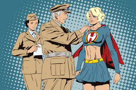 awarded: Stock illustration. People in retro style pop art and vintage advertising. Beautiful girl superhero awarded a medal. Illustration