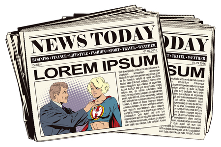 super woman: Beautiful girl superhero awarded a medal. Newspaper article. Illustration