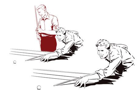 Vector illustratie. Speler in biljart.