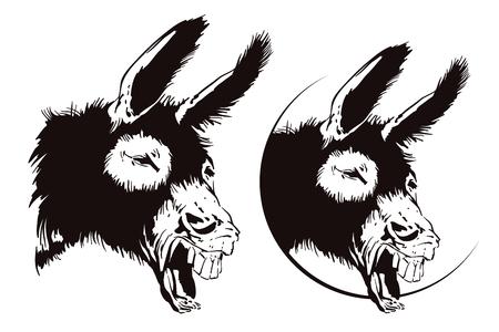 Laughing donkey. Vector illustration.