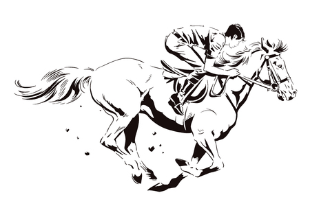 Stock illustration in silhouette style. Rider on a galloping horse.